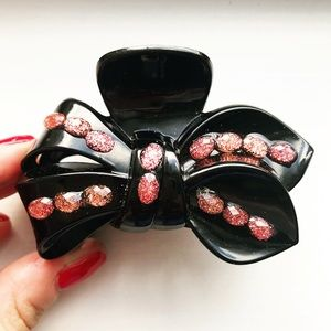 Large vintage black & sparkly pink bow hair clip